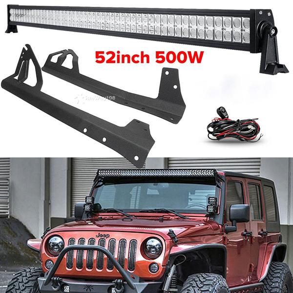 52 Inch 500w Straight Led Light Bar Mount Bracket Fit For Jeep Wrangler Jk 07 15r Free Wiring Kit