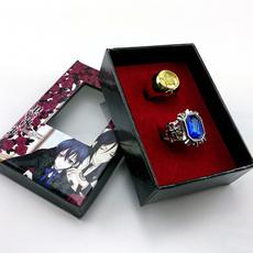 Couple Rings, golden, cielphantomhivesapphirering, blackbutler