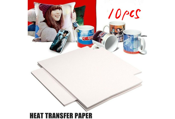 10Pcs Hot Good Quality T-Shirt A4 Iron-On Inkjet Heat Transfer Paper For Fabrics Cloth Diy Designed (Color: White)