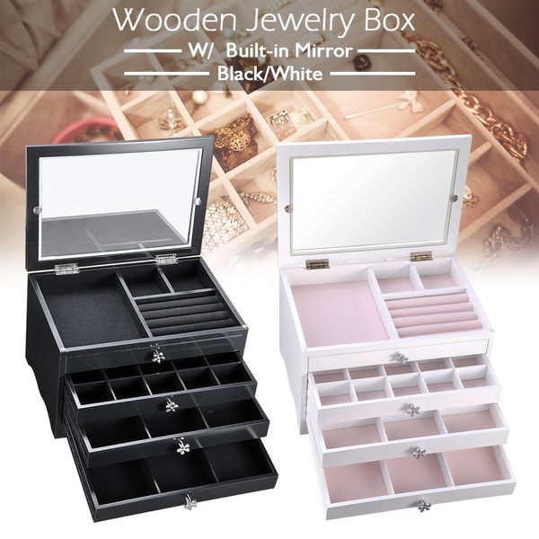 f9a014b2c Yescom Wooden Jewelry Box Built-in Mirror Ring Earring Necklace Organizer  Storage Case Black/White   Wish