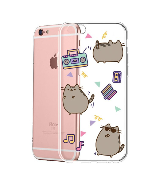 online store 5c964 ff3dc Colorful Cartoons Pusheen The Cat Transparent Phone Case Cover for Apple  IPhone 6S Plus SE Samsung Galaxy