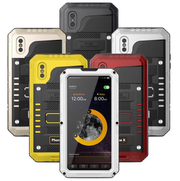 new style c0c5b 07842 IP68 Waterproof Luxury doom armor Dirt Shock Metal phone cases For iphone  6/6Plus/6s/6sPlus/7/7Plus & 8 case +Tempered glass
