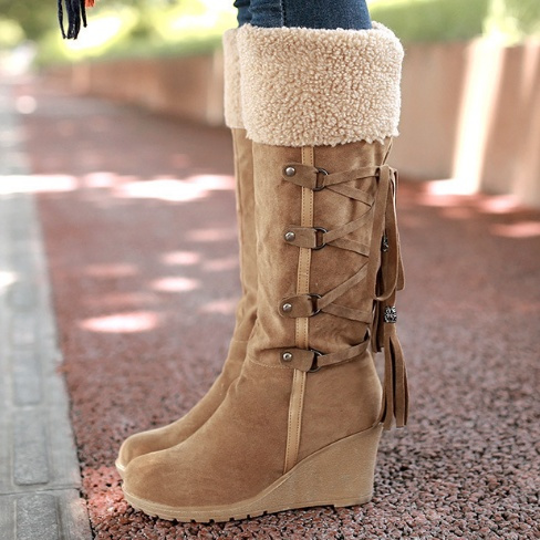 a608629828e43 Women Winter Snow Boots Fashion Long Boots Lace up Round Toe Scrub ...