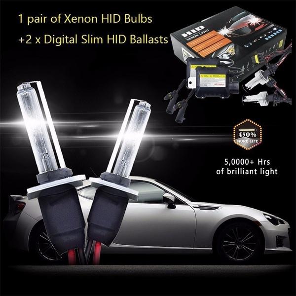 Wish | 1 Pair Xenon HID Bulbs+1 Pair Digital Slim HID Ballasts Universal 55W 3500LM HID Xenon Headlight Conversion Bulbs Kit