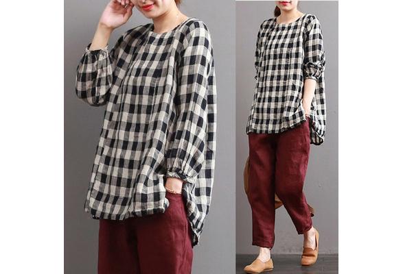 ZANZEA S-5XL Women Check Plaid Cotton Tops Pullover Casual Loose Shirt Blouse Plus Size