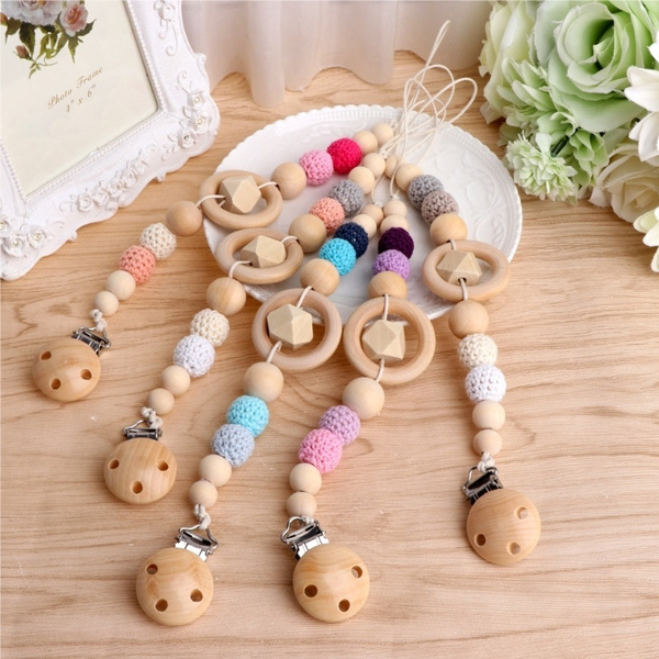Jewelry Holder Wooden Beaded Nipple Teether Clip Pacifier Chain Dummy Strap