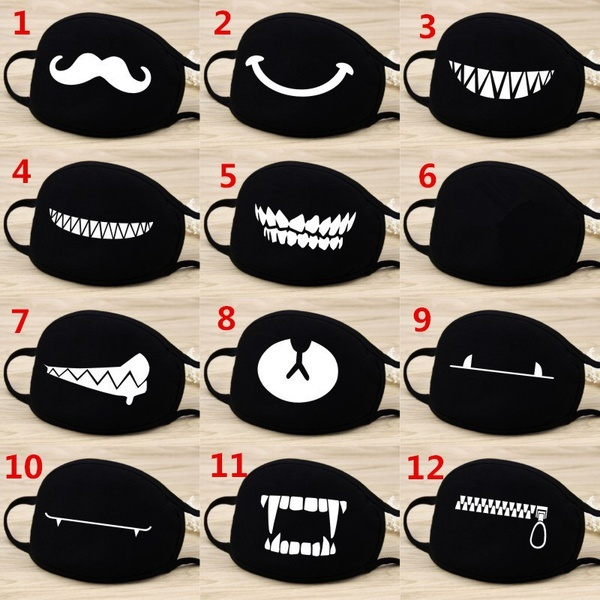 Fashion Cartoon Pattern Solid Black Cotton Face Mask Cute 3 D Print Half Face Mouth Muffle Masks Health Beauty Accessories by Wish