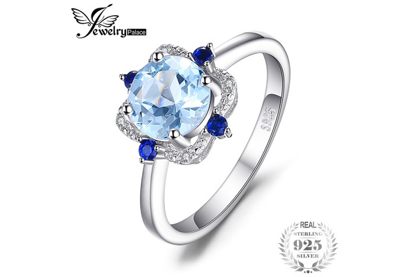 JewelryPalace Fashion 1.8ct Sky Blue Topaz Created Sapphire Engagement Anniversary Ring 925 Sterling Silver