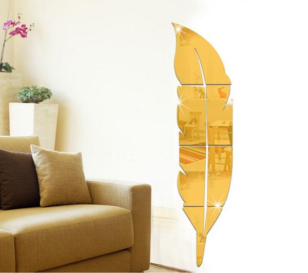 Wish | Home Bathroom DIY Modern Plume Feather Style Acrylic Mirror ...