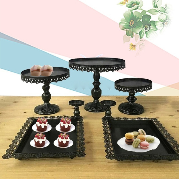 Wish 7pcs Set Black Cake Stand Wedding Cupcake Stand Set Glass