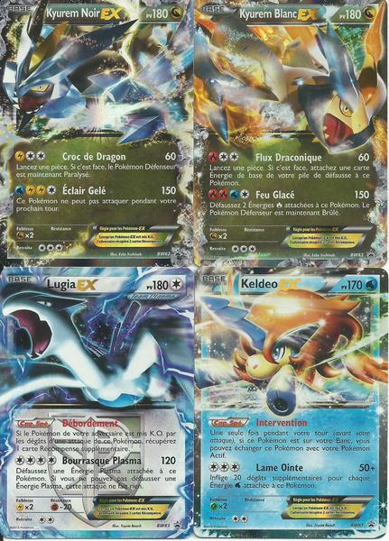 Lot De 4 Cartes Pokémon Ex Kyurem Blanc Noir Lugia Et Keldeo Holo Reverse Promo 180 Pv Noir Blanc Neuve Fr Rare