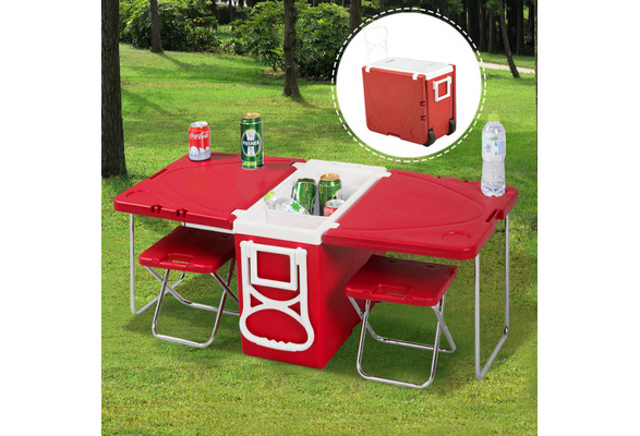 Wish | Multi Function Rolling Cooler Picnic Camping Outdoor w/ Table & 2 Chairs Blue/red