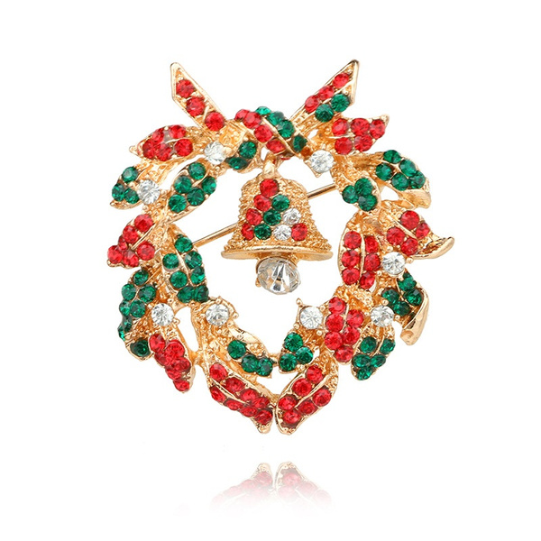 Christmas Jewelry.Europe And The United States Christmas Jewelry Diamonds Christmas Bells Suit Pins Creative Corsage Gifts