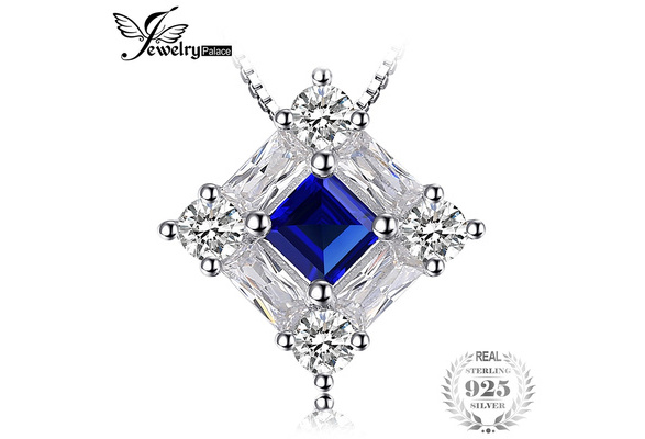 JewelryPalace Octagonal 0.4ct Blue Created Sapphire Pendant 925 Sterling Silver
