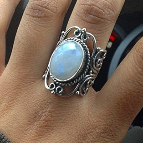 Antique, moonstonering, rainbow, Women Ring