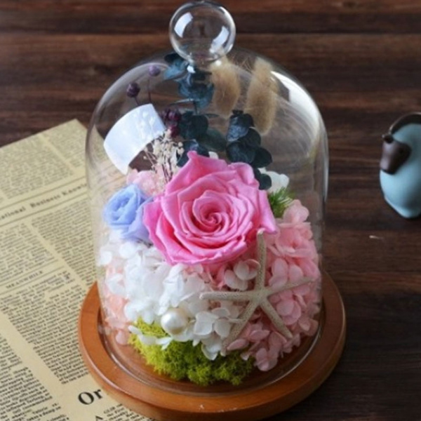 Wish | Glass Flower Immortal Preservation Cloche Bell Jar with ...