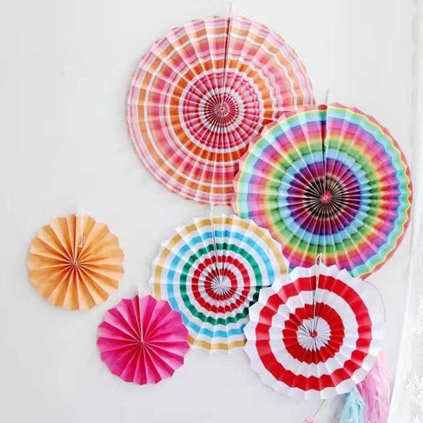 6Pcs/set Multicolor Tissue Paper Fan Hanging Flower Birthday Wedding Home  Party Decoration Diy Paper Craft