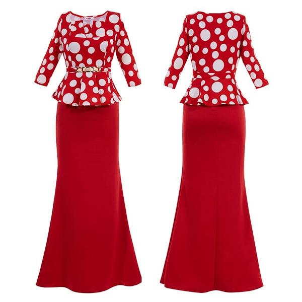 Wish | fashion women evening dresses Square Neck Polka Dots Half ...
