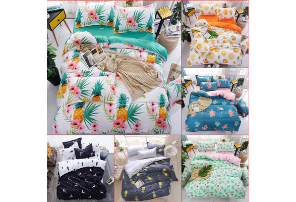 High-quality Pineapple Flowers Printing Comforter Duvet Cover Bed Flat Sheets and Pillow Covers Full Size and Queen Size Bedding Set