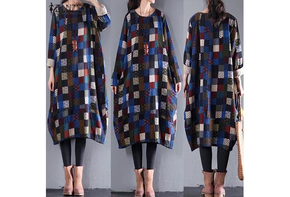2018 ZANZEA Women Autumn Vintage Print Cotton Batwing Casual Loose Oversized Long Dress