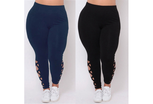 Hot&Fashion Women Plus Size Elastic Leggings Solid Criss-Cross Hollow Out Sport Pants
