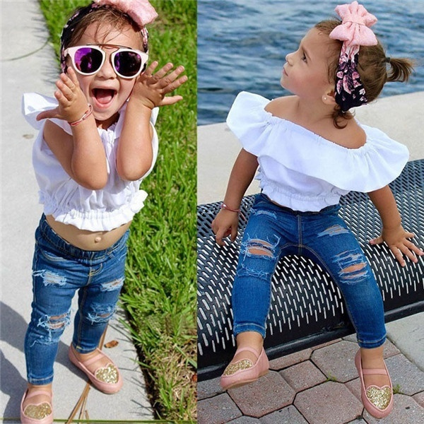 5fdc2039c50 1-7 Years Kid Girl T Shirt + Long Trousers Clothing Sets Little Girl ...