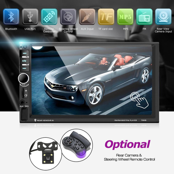 Car Accessories 7 Inch Car Video 7060b 2din Car Radio With Rearview Camera Mp5 Player Support Microphone Bt Camera And Steering Wheel Remote Control