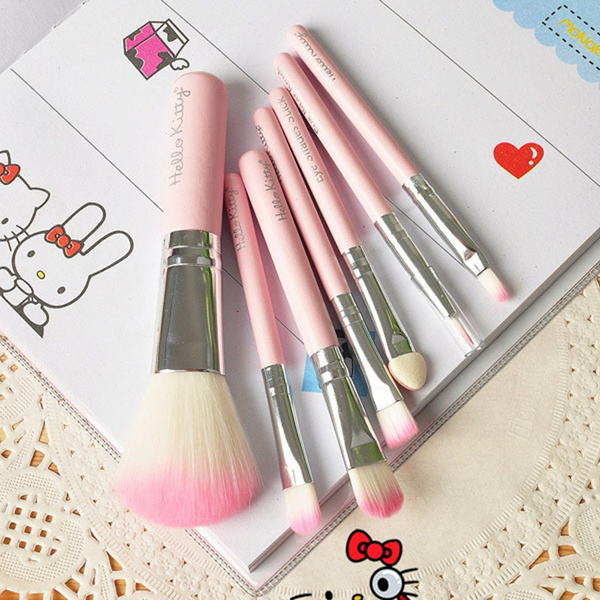 9b6ebf7f3 new hello kitty 7 pcs mini makeup brush set pink cosmetics kit de ...