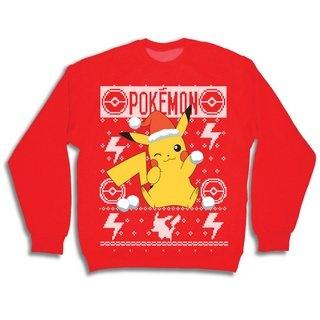 Pokemon Christmas Sweater.Pokemon Men S Pikachu Holding Snowball Ugly Graphic Christmas Sweater