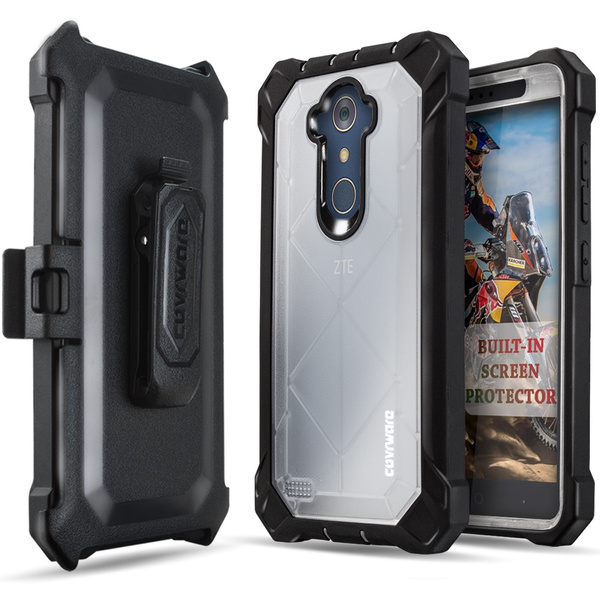 ZTE ZMAX PRO / MAX XL Case, COVRWARE [Ranger Pro] Built-in [Screen  Protector] Full Body Rugged Holster Armor Case [Belt Swivel  Clip][Kickstand] for
