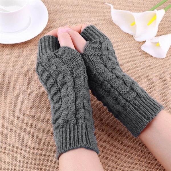 Neu 1Paar Fingerlos Handschuhe Lang Acryl Armstulpen Pulswärmer Strick Stulpen