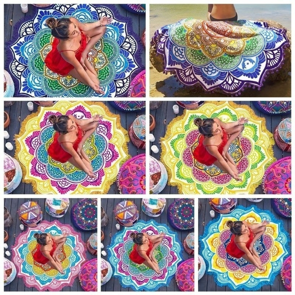 Home & Garden Beach Towel Tassel Yoga Mat Carpet Tapete Doormat Tapestry Indian Mandala Blankets Bathroom Carpet Camping Mattress