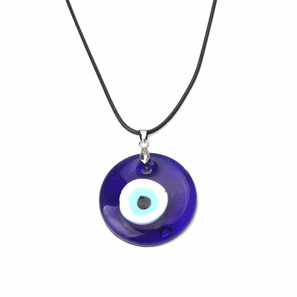 Evil Eye Necklace Blue Charm 30mm