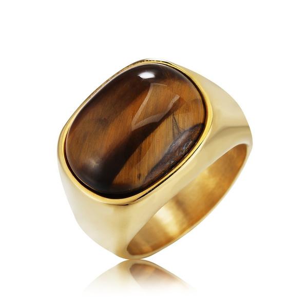 amber, White Gold, Stainless Steel, Women Ring