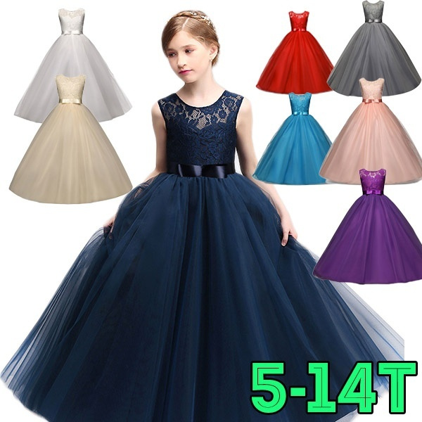 9b02e4cfc283 Children Christening Girl Dress Kids Bow Tie Lace Long Dresses for ...