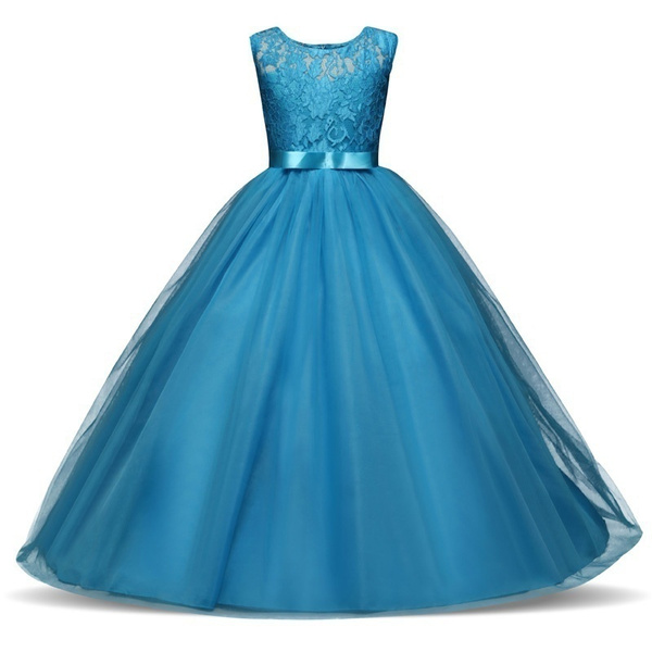 e80c0c7b4c061 Cute Elegant Charming Kids Girls Pageant Long Dress Baby Girl Party Wedding  Formal Bridesmaid Princess Lace Birthday Dresses 4-14Years