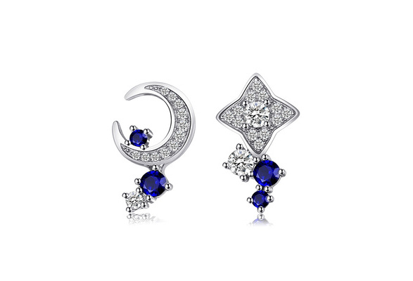 JewelryPalace Moon & Star 0.8ct Created Sapphire Studs Earrings 925 Sterling Silver