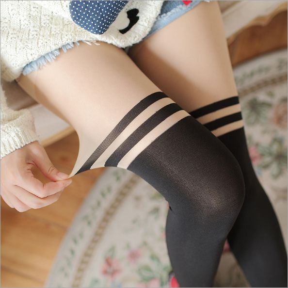 6a1aeb5e7 Sexy Women Girl Temptation Sheer Mock Suspender Tights Pantyhose ...