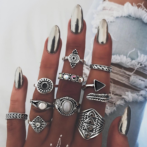 check-out b3810 ffe64 13pcs / Set Bohemian Lady Suit Ring Elephant hand of Fatima moon Diamond  Carving Ring