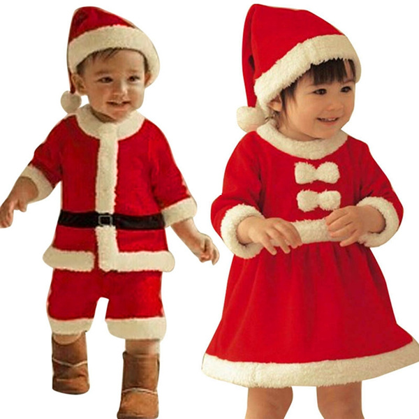 Christmas Clothes Toddler Kid Baby Girl Costume Bowknot Party Dresses+Hat Outfit