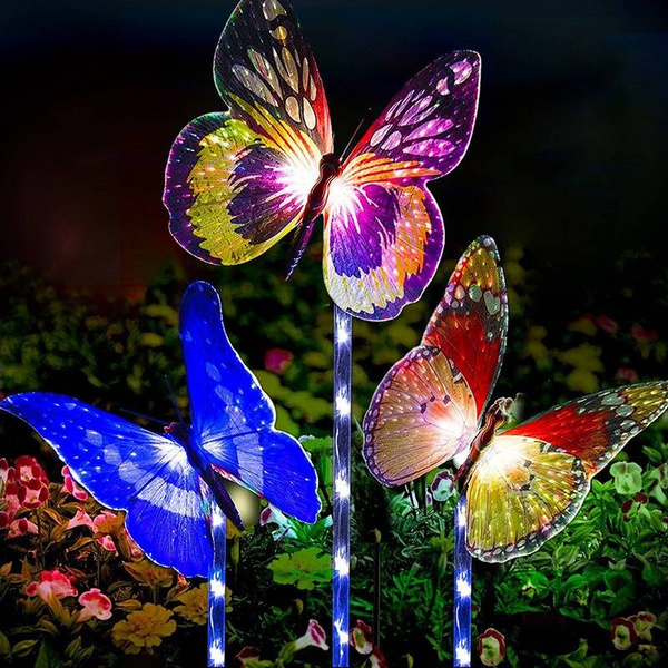 Wish | Garden Solar Lights Outdoor   3 Pack Solar Stake Light Multi Color  Changing LED Garden Lights, Fiber Optic Butterfly Lights, Solar Powered  Stake ...