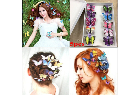 5 PCS/10 Pcs Butterfly Hair Clips Hair Wear Jewelry Accessory Wedding Bride Beach Colored Butterfly Hairpins for Women Girl
