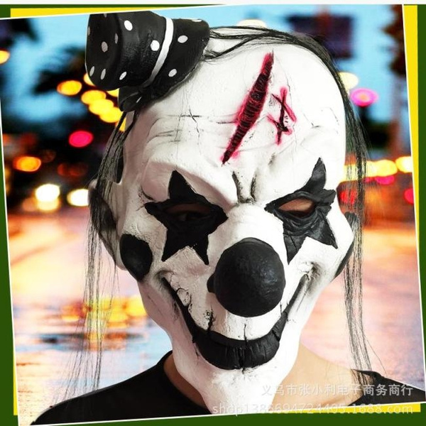 FAST Black and White Scary Clown Mask Full Face Cosplay Horror Masquerade  Adult Ghost Mask Halloween Props Costumes Fancy Dress Party Fastmstore