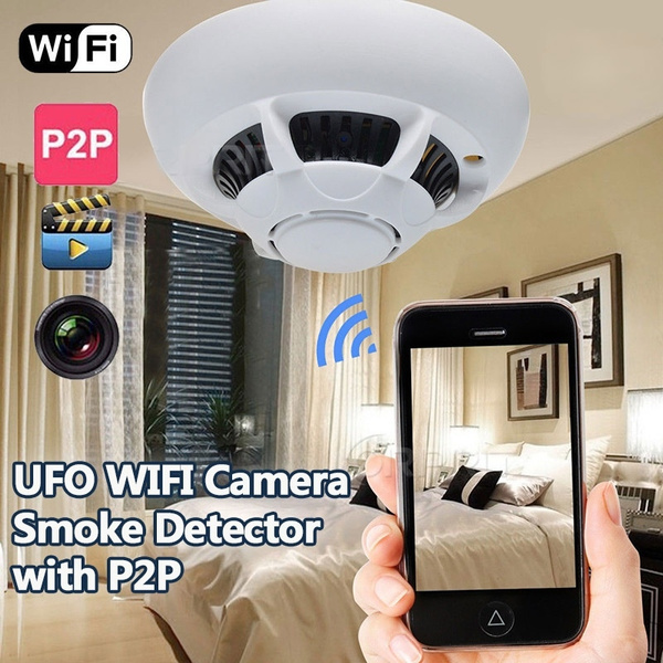 WIFI UFO Smoke Detector SPY Hidden Camera Nanny Cam for iPhone/Android P2P  Camera Home Security Motion Detection Video Recorder