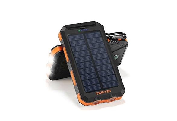 Solar Charger Teryei Solar Power Bank 15000mAh External Backup Outdoor Cell  Phone Battery Charger with Dual USB Port, Dual LED Flashlights, Solar