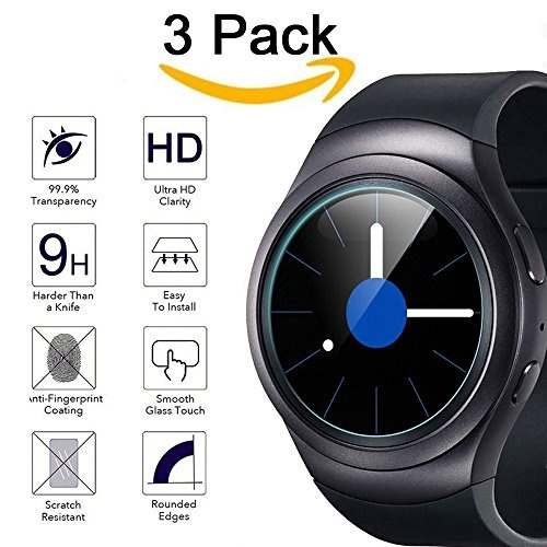 purchase cheap 38ba8 8282a Kimilar Waterproof Samsung Gear S2 Screen Protector, 3-Packs Tempered Glass  [9H Hardness] Screen Protector for Samsung Gear S2 / Gear S2 Classic, ...