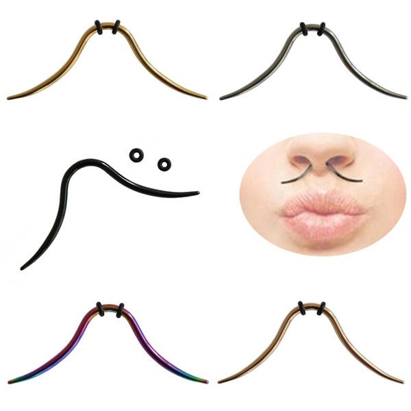 2018 Surgical Steel Septum Nose Nipple Piercing Hoop Pincher Fake