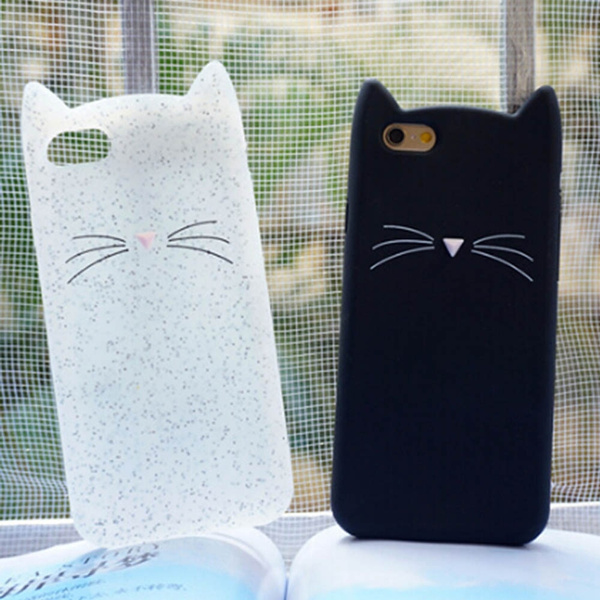 best website 872e9 f5715 3D Bearded Cat Silicone Soft Phone Cover for IPhone SE 5s 5 6/6s 6/6s Plus  7 7plus Cute Phone Case