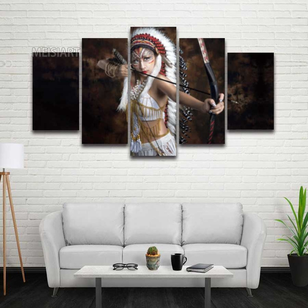 No Frame 5 Panel Canvas Wall Art Feathered Native American Indian Painting Hd Prints Modular Picture For Home Decor Living Room