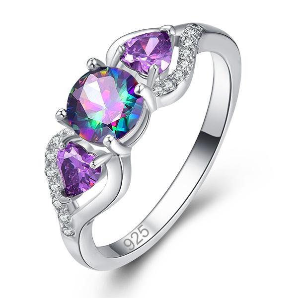 Heart, rainbow, wedding ring, 925 silver rings